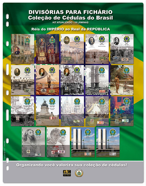 Divisórias para Fichário Cédulas do Brasil - 19 Lâminas Atualizadas