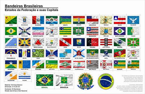 Cartela Adesiva com Bandeiras dos Estados e Suas Capitais