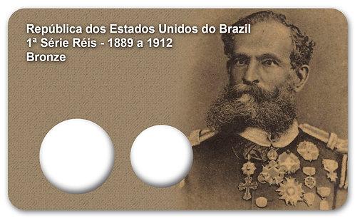 Display Expositor com Case para Moedas 1ª Série Réis - 1889 (Bronze)