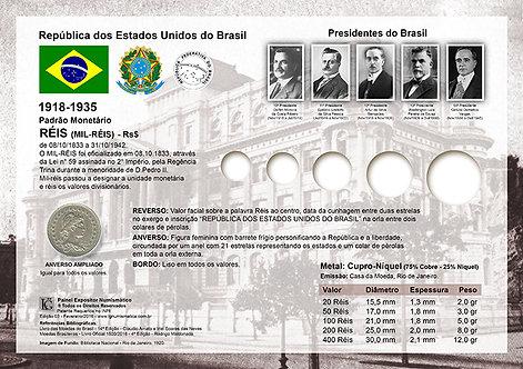 Painel Expositor para Moedas de Réis 1918 a 1935
