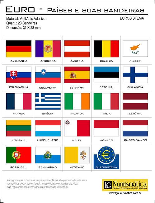 Bandeiras Adesivas Países Membros do Eurosistema (23 Países) - Completo