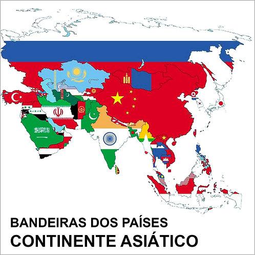 Kit Bandeiras Adesivas da Ásia (48 Países) - Completo