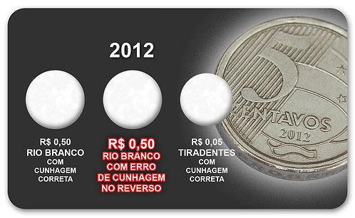 "Display Expositor com Case para Moedas Real 50 Centavos Sem ""Zero"" - 2012"