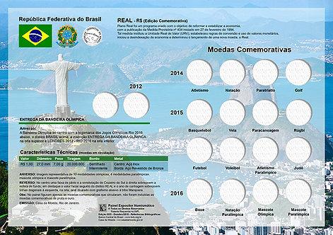 Painel Expositor para Moedas Olímpicas - Série Bimetálicas Rio 2016