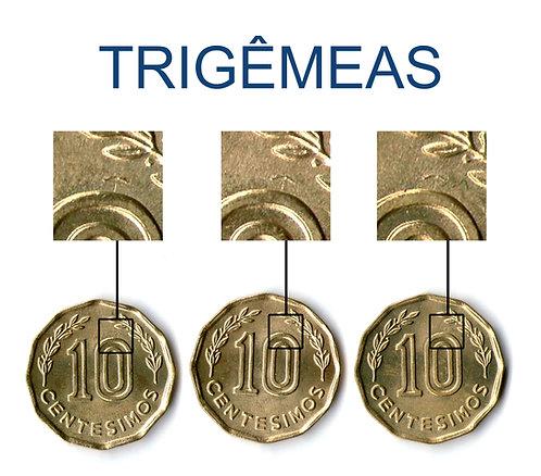Moedas Trigêmeas com marca idêntica 10 Centésimos 1981 Uruguai - Flôr de Cunho