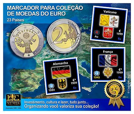 Marcador para Coleção de Moedas Euro - Kit 23 Países (Preto)
