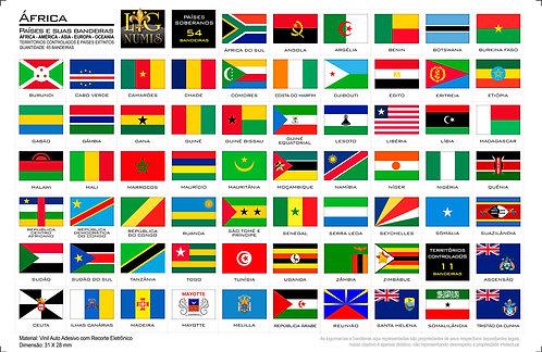 Kit Cartelas Adesivas - 5 Continentes - 307 Bandeiras para Folhas Plásticas