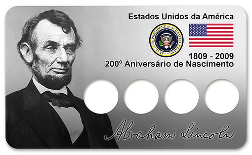 Display Expositor com Case para Moedas do Bicentenário de Abraham Lincoln