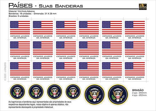 Cartela Adesiva Bandeira e Brasão dos Países