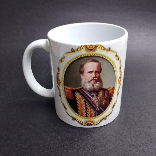 Caneca Cerâmica Decorada Dom Pedro II