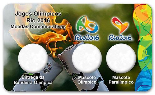 Display Expositor com Case para Moeda Bandeira Olímpica e Mascotes