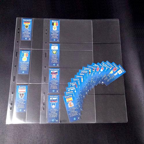 Marcadores para Folha Plástica do Fichário de Cédulas Euro - 23 Países