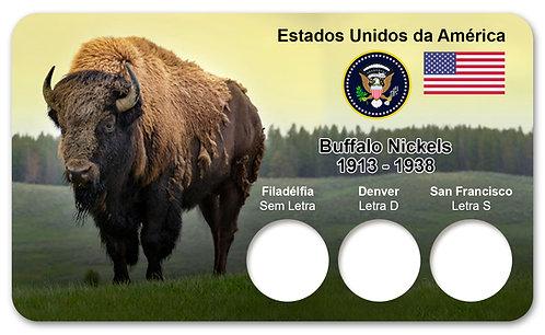 Display Expositor para Moedas Five Cents Dollar- Buffalo Nickels