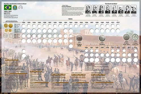 Painel Expositor para Moedas de Réis 1889 a 1913 - 1ª e 5ª Série