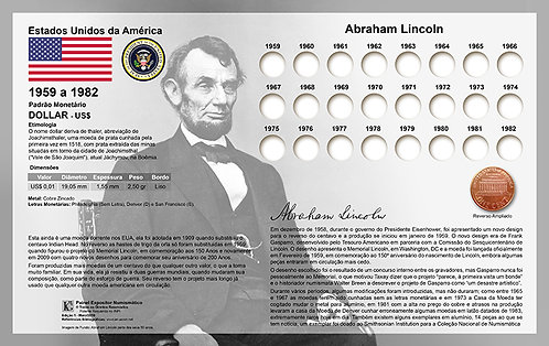 Painel Expositor para Moedas Lincoln Penny - 1959 a 1982