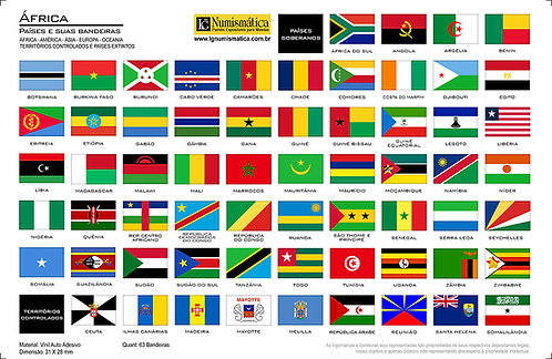 Kit 5 Cartelas com 289 Bandeiras - 5 Continentes