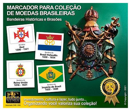 Marcador para Coleção de Moedas - Bandeiras e Brasões Históricos - Kit 28 Pçs