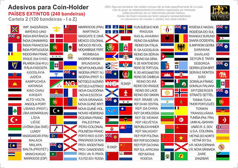 Kit Cartelas Adesivas - 240 Bandeiras Países Extintos