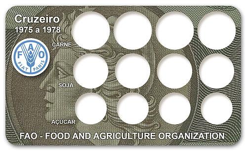 Display Expositor com Case para Moedas Cruzeiro FAO - 1975