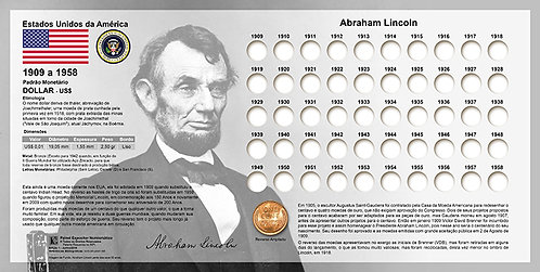 Painel Expositor para Moedas Lincoln Penny - 1909 a 1958