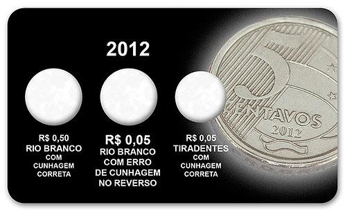 """Display Expositor com Case para Moedas Real 50 Centavos Sem """"Zero"""" - 2012"""