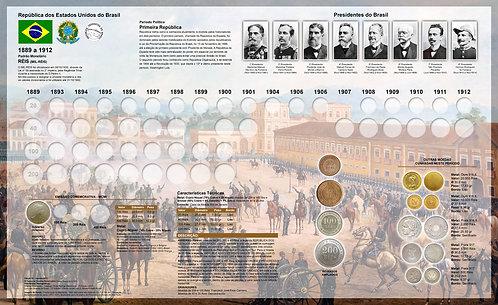 Painel Expositor para Moedas de Réis 1889 a 1912 - 1ª e 2ª Série
