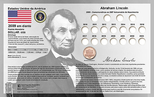 Painel Expositor para Moedas Lincoln Penny - 2009 a 2019