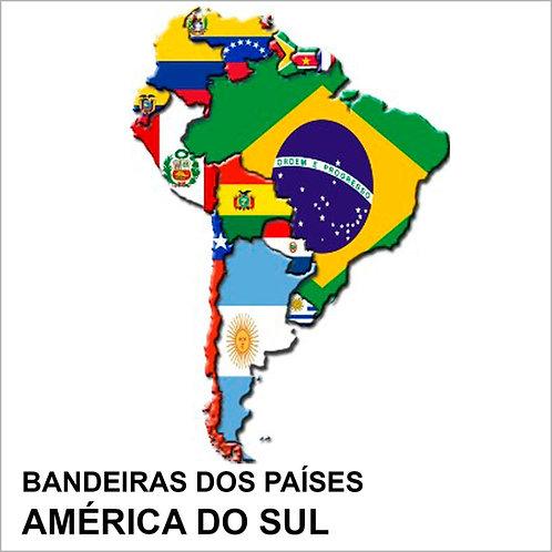 Kit Bandeiras Adesivas da América do Sul (12 Países e 3 Territórios) - Completo