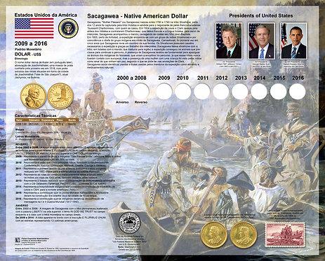 """Painel Expositor para Moedas dos Indígenas Americanos """"Sacagawea"""""""