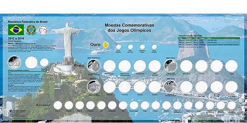Painel Expositor para Moedas Olímpicas - Série Completa Rio 2016