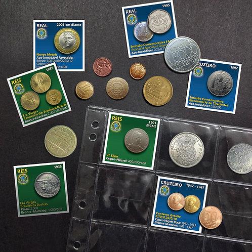 Marcadores para Coleção de Moedas do Brasil - 48 Pçs Ilustradas