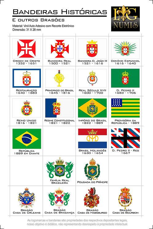 Cartela Adesiva com Bandeiras Históricas do Brasil