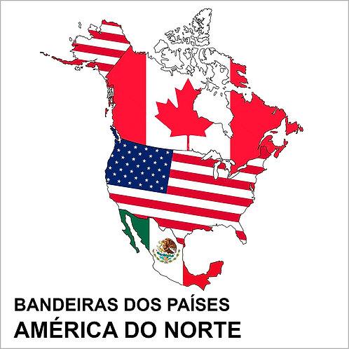 Kit Bandeiras Adesivas da América do Norte (4 Países) - Completo