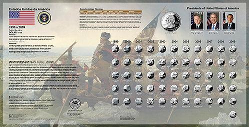 Painel Expositor para Série de Moedas Quarter States Dollar