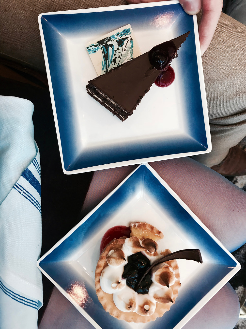 Desserts. Andrew had the chocolate cake and I had a blueberry lemon tarte