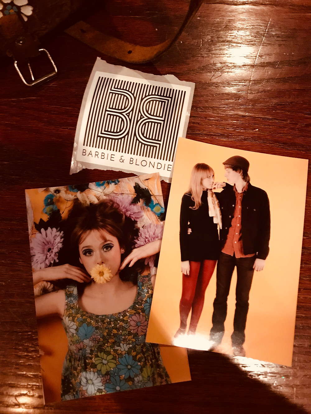 Little gifts from Olivia & Jairo: a Barbie & Blondie sticker, shot and me & Andrew, and a shot of me!