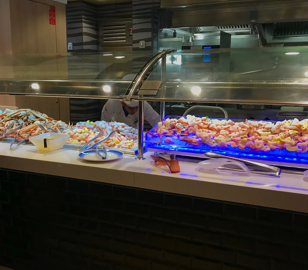 Lots of seafood for dinner on the Norwegian Bliss