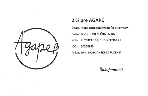 Darujte Agape 2% z daní