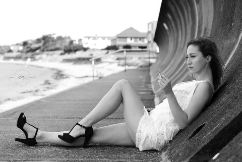 black and white girl portrait