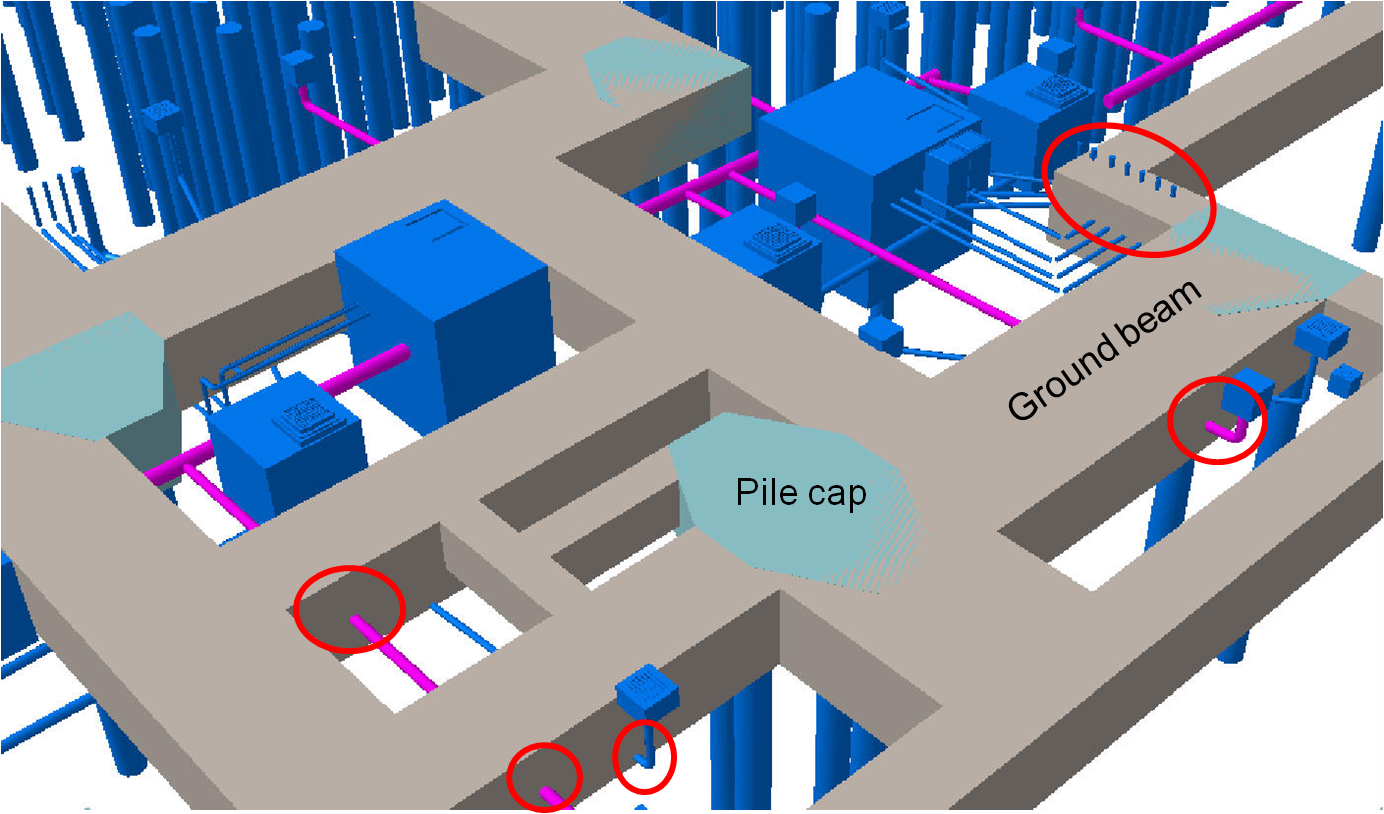BIM - Underground drainage pipe - manhole VS pile cap - foundation - ground beam