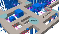BIM - Underground drainage pipe - manhole VS pile cap - foundation - ground beam