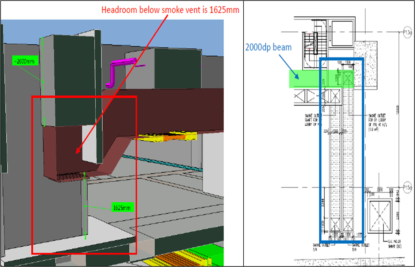 BIM - Basement - Smoke vent headroom checking