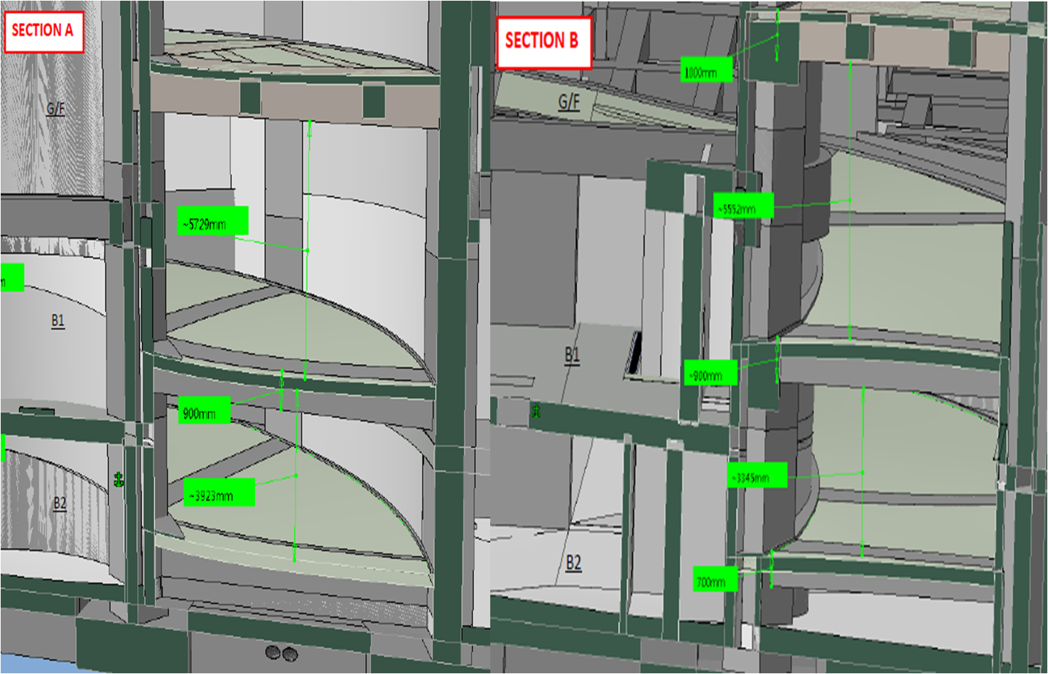 BIM - Car Ramp Headroom checking section
