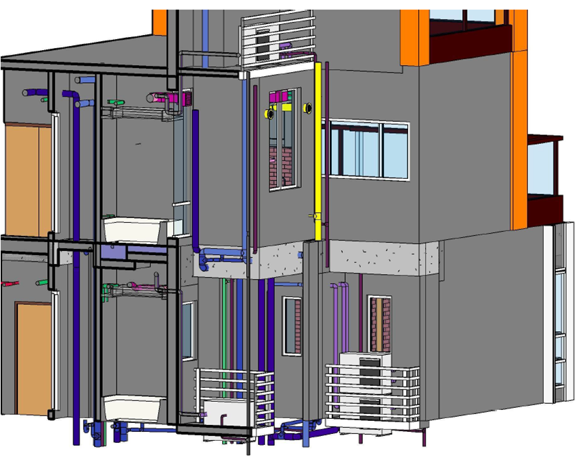 BIM - Tower - Pipe works alignment from last typical floor to special unit
