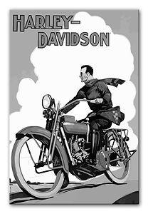 Vintage-Harley-Davidson-canvas-print-bw_