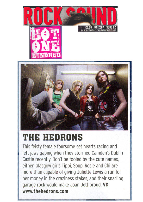 TheHedrons Rocksound Jan2007 Hot 100
