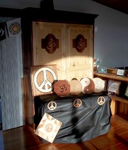 wooden peace sign & wooden aum