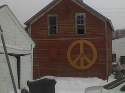 wooden peace sign