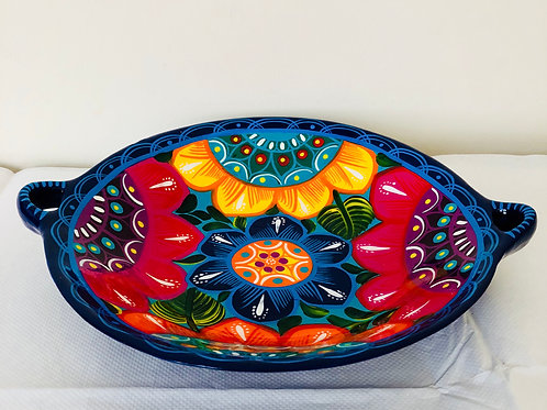 Round hand -painted large dish