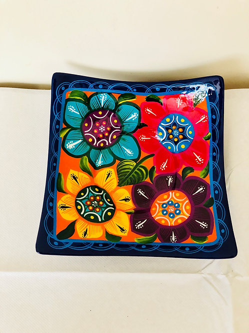 Squared hand painted ceramic  dish